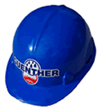 blue hardhat with guenther logo on it